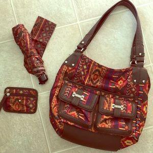 Tyler Rodan shoulder bag purse set umbrella Aztec